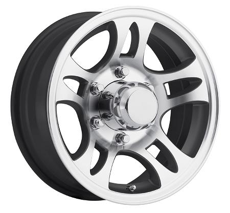 15x6 Black Inlay Aluminum Bullet T03 Trailer Wheel 6 Lug, 2830 Max