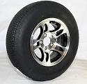 ST205/75R14 LR C RADIAL  CARLISLE Trailer Tire mounted on 14 x 5.5 Machined/Black Inlay Bullet Aluminum Trailer Rim 5x4.50