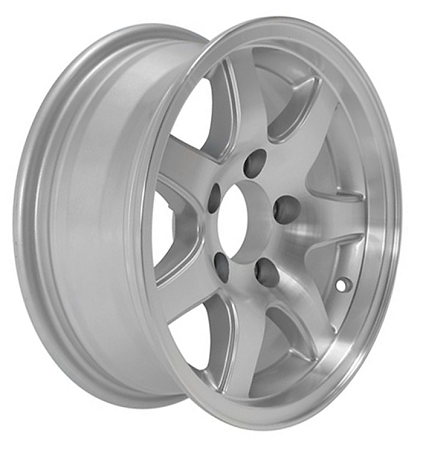 15x6 Inch Aluminum T02 Sendel Trailer Wheel 5 Lug 2150 Lb