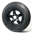 ST205/75R15 Ameritrail Tire LR D with 15x6 Sendel T08 Black Machined Aluminum Trailer Wheel 5 on 4.5 Lug 2150 Lb Capacity