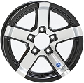 12 x 4 Hispec Series 07 Black Inlay Aluminum Trailer Wheel 5 x 4.50