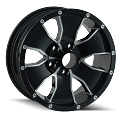 15 x 6 ION 14 Gloss Black Aluminum Trailer Wheel 5 x 4.50 Lug,  2600 lb Capacity 14-5665B