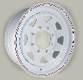 16 x 6 White Spoke Trailer Rim 8 x 6.50, 4080 Lb Load Capacity