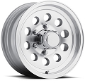17 x 8 Silver Machined Aluminum Modular Sendel Trailer Wheel,6 on 5.50, 2850 lb Max Load