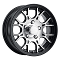 14x5.5 Sendel T16 Gloss Black Machined Aluminum Trailer Wheel 5x4.50