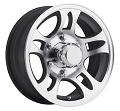 14x5.5 Sendel T03 Black Machined Aluminum Trailer Wheel 5x4.5, 1900 lb Max Load