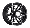 16x6 Linkster Black Aluminum T06 Trailer Wheel, 6 Lug, 3200 lb Max Load