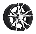 14x5.5 Viper Black Machined Aluminum T07 Trailer Wheel 5 Lug, 1900 lb Max Load