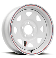 13x4.5 Steel Spoke Trailer Rim White Painted with Pinstripes, 5x4.5 Lug, 1660 Max Load