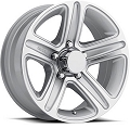 14x5.5 Sendel Silver Machined T09 Trailer Rim 5 Lug, 2200 lb Max Load