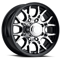 16x6.5 T16 Black Machined Aluminum Sendel Trailer Wheel 8x6.5