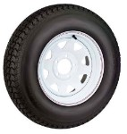 5.30x12 White Steel Spoke 5 Lug Trailer Wheel and Tire Package Load Range D