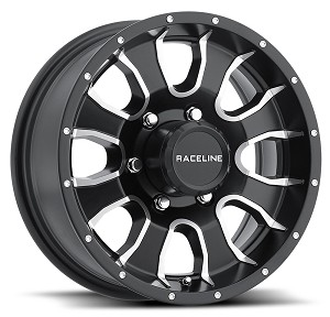 15x6 Raceline Mamba Black Aluminum Trailer Wheel 6x5.50 Bolt, 2830 lb Max Load, incl Center Cap AW860M-56060