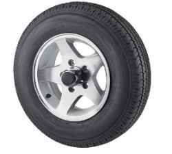 "4.80-12 Load Range C Bias Ply Trailer Tire with 12"" 5 Lug Aluminum Star Trailer Wheel"