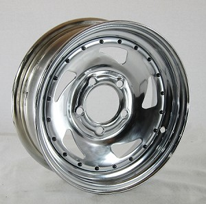13x4.5 Chrome Blade Steel Trailer Wheel with Rivets 5 Lug, 1660 lb Max Load