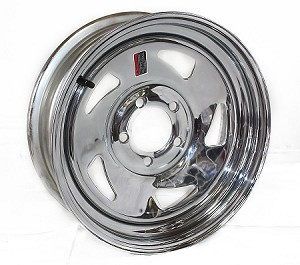 15x5 in Chrome Blade Steel Trailer Wheel No Rivets, 5 on 4.50 Lug, 1870 lb Max Load