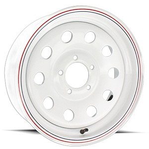 15x6 White Painted Steel Modular Trailer Wheel 5x4.50, 2600 lb Max Load 2756012-33171