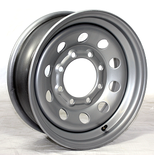 16x6 Modular Silver Steel Trailer Wheel 8x6.5 Lug, 4080 Lb Load Capacity