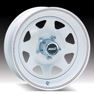 15x6 White Spoke Steel Trailer Wheel 5x4.50 Lug, 2150 lb Max Load