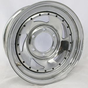 U.S. Wheel -15 x 6 Chrome Blade Steel Trailer Wheel 6 on 5.50 Bolt Pattern with Rivets