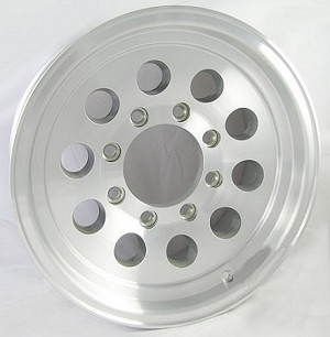 16x7 Aluminum Mod Hi Spec Trailer Wheel 8 Lug, 3200 lb Max Load 0367865 (12 hole)