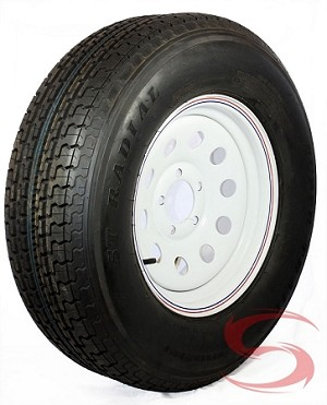 ST205/75R15 LR C Radial Trailer Tire with 15x6 White Modular Trailer Wheel 5 on 4.50 with Red & Blue Pin Stripe