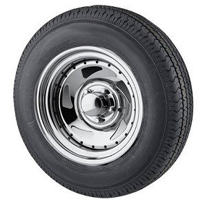 ST205/75R14  Radial Ply Trailer Tire with 14x6, 5 bolt Chrome Blade Trailer Rim By U.S wheel