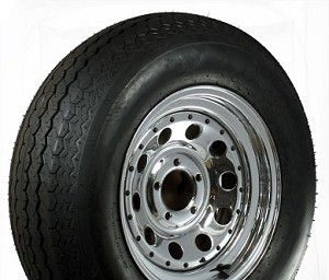 ST205/75D15 inch Bias Ply Trailer Tire w Chrome Modular 5x4.5 Bolt Trailer Rim with Rivets By U.S.Wheel