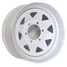15x6 White Steel Spoke Trailer Wheel 6 Lug, 2830 lb Max Load