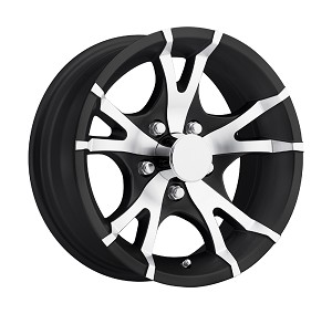 14x5.5 Viper T07 Gloss Black Machined Aluminum Trailer Wheel 5x4.5, 2200 lb Max Load