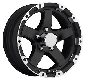 14x5.5 Matte Black Grinder with Machined Lip  Trailer Rim 5 Lug, 2,200 lb Max Load