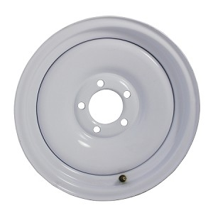 15x6 Solid Steel White Painted Trailer Wheel 5 Lug, 2600 lb Max Load