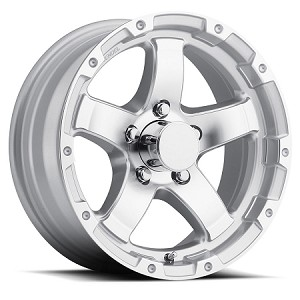 13x5 Sendel T08 Silver Machined Aluminum Trailer Wheel 5x4.5