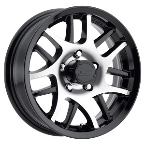 14x5.5 Gloss Black Machined T15 Sendel Aluminum Trailer Wheel 5x4.5