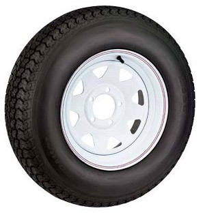 ST145R12 Radial Trailer Tire with 12 inch White Steel Spoke 5 Lug Rim LR D