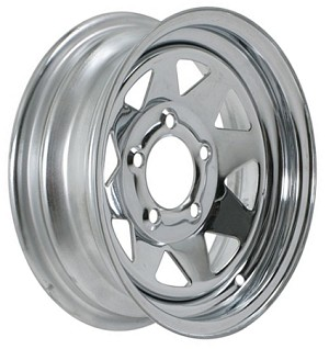 13x4.5 Chrome Spoke Steel Trailer Wheel 5 Lug, 1660 lb Max Load