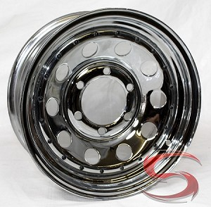 15 x 6 Chrome Modular Trailer Rim 6 on 5.50 w black rivets 2,540 Load Capacity
