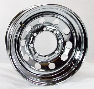 16x6 Chrome Modular Steel Trailer Wheel 8x6.50 Lug, 3760 lb Max Load
